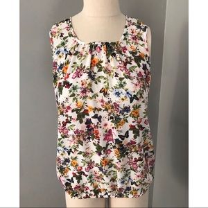 LOFT Sleeveless Butterfly Floral Top Small